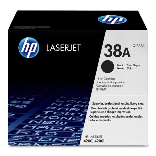 HP 38A Black Toner Cartridge 12000 Pages for LaserJet 4200 Printer Series Q1338A