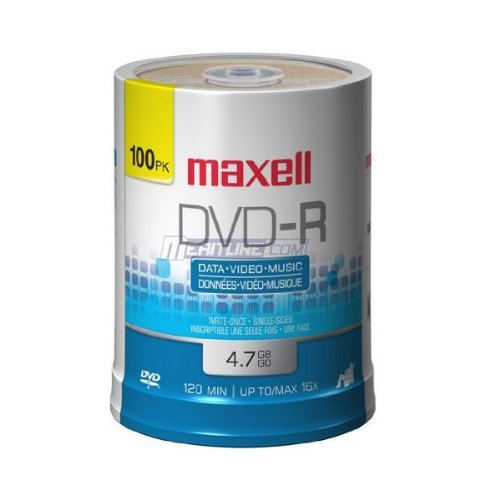maxell 4.7GB 16X DVD-R 100 Packs Disc Model 638014 - Retail